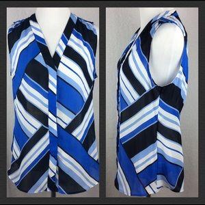 BANANA REPUBLIC blue button down blouse size 8 A3